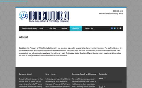 Screenshot of About Page mediasolutions-24.com - About - Media Solutions 24 Call (832) 366-4210 - captured Oct. 27, 2014