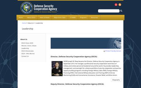 Screenshot of Team Page dsca.mil - Leadership | The Official Home of the Defense Security Cooperation Agency - captured Feb. 8, 2016