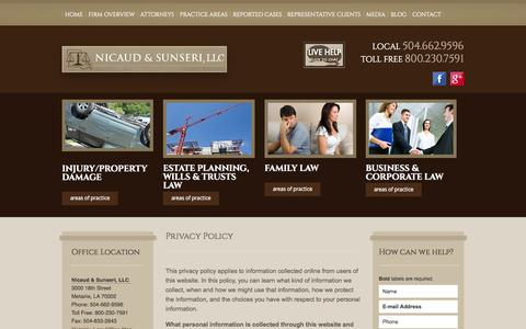 Screenshot of Privacy Page nslawla.com - Privacy Policy | Nicaud & Sunseri | Metairie - captured Oct. 26, 2014