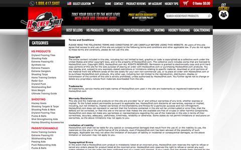 Screenshot of Terms Page hockeyshot.com - Terms - captured Sept. 25, 2014