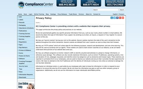 Screenshot of Privacy Page thecompliancecenter.com - ICC -> Privacy Policy | ICC - captured Jan. 30, 2018