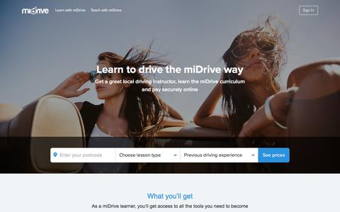 Screenshot of Home Page midrive.com - miDrive - The UK's leading learner driver community - captured June 23, 2016