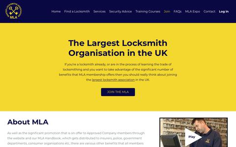 Screenshot of Signup Page locksmiths.co.uk - Join | Become a Member & Training Courses | Master Locksmiths Associaton - captured Nov. 12, 2019