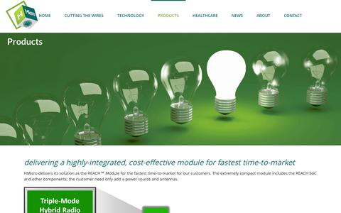 Screenshot of Products Page hmicro.com - Products - HMicro Inc. | HMicro - captured Sept. 16, 2014