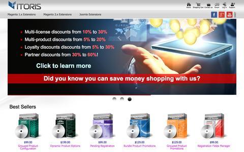 Screenshot of Home Page itoris.com - Magento Marketplace – Joomla Extensions & Templates   ITORIS - captured Jan. 21, 2016