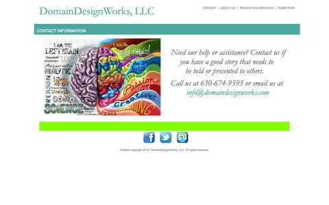 Screenshot of Contact Page domaindesignworks.com - Contact Info - DomainDesignWorks, LLC - captured Oct. 5, 2014