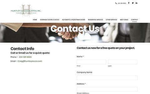 Screenshot of Contact Page huntleyassoc.com - Contact Us - Huntley & Associates - captured Dec. 16, 2018