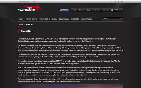 Screenshot of About Page sentey.com - Sentey :: About Us - captured Nov. 16, 2016