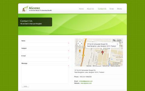 Screenshot of Contact Page agcerez.com - Contact Us - AGcerez - captured Oct. 4, 2014