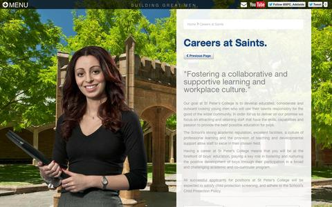 Screenshot of Jobs Page stpeters.sa.edu.au - St Peter's College - Careers at Saints - captured Oct. 6, 2014