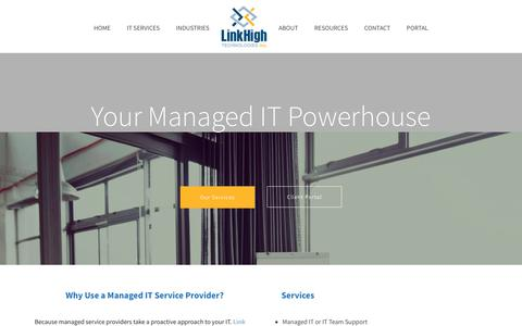 Screenshot of Home Page linkhigh.com - Professional Managed Business IT Services - captured Oct. 5, 2017