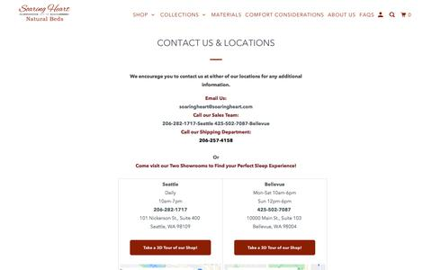 Screenshot of Contact Page soaringheart.com - Soaring Heart Natural Bed Company Phone and Email - captured Feb. 17, 2020