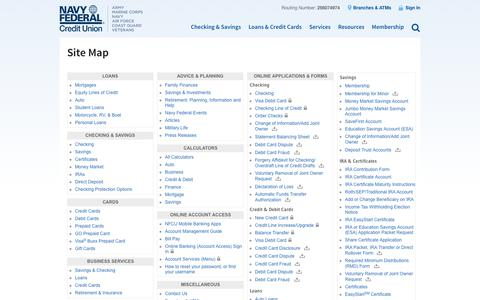 Navy Federal Credit Union: Site Map
