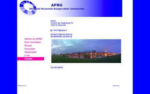 Screenshot of Contact Page apbg.nl - apbg.nl - captured Sept. 30, 2014