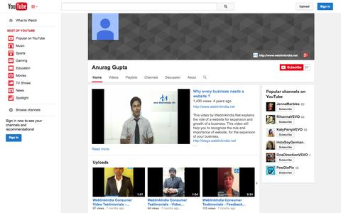 Screenshot of YouTube Page youtube.com - Anurag Gupta  - YouTube - captured Nov. 3, 2014