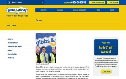 Screenshot of Jobs Page gibbsanddandy.com - Careers   Builders Merchants   Gibbs & Dandy - captured Oct. 2, 2014