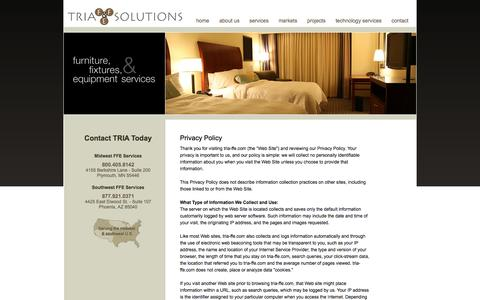 Screenshot of Privacy Page Site Map Page tria-ffe.com - Site Map | Privacy Policy - FF&E Services Company - TRIA FF&E Solutions - captured Oct. 25, 2014