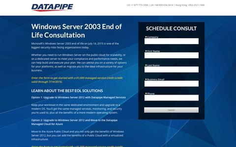 Screenshot of Landing Page datapipe.com - Window Server 2003 End Of Life Solutions - captured Oct. 6, 2016