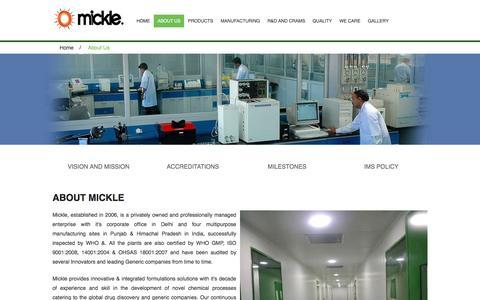 Screenshot of About Page micklepharma.com - About Us | Mickle Pharma (P) Ltd - captured Nov. 28, 2016