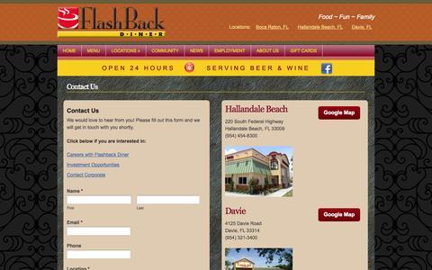 Screenshot of Contact Page flashbackdiner.com - Contact Us | Flashback Diner - captured Sept. 30, 2014