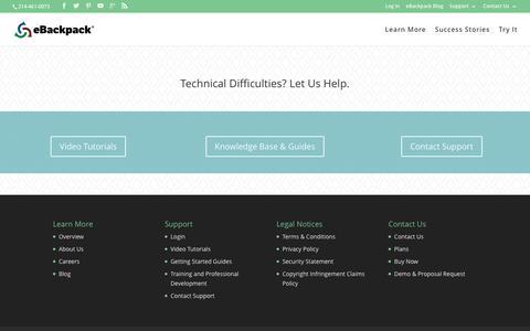 Screenshot of Support Page ebackpack.com - Support | eBackpack - captured Dec. 22, 2015