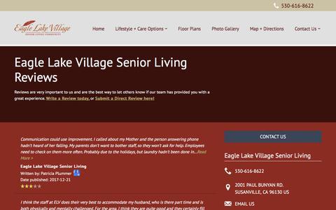 Screenshot of Testimonials Page milestoneretirement.com - Senior Living Resources | Eagle Lake Village Senior Living - captured Feb. 3, 2018