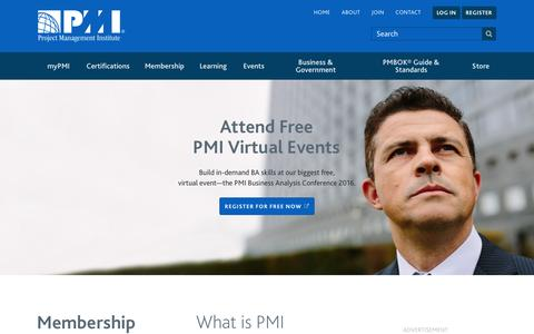 Screenshot of Home Page pmi.org - PMI | Project Management Institute - captured Oct. 30, 2016