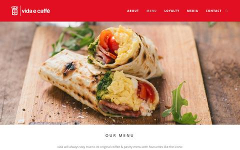Screenshot of Menu Page vidaecaffe.com - menu Â« vidaecaffe - captured Sept. 1, 2016