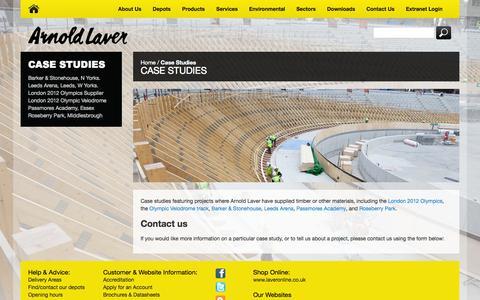 Screenshot of Case Studies Page laver.co.uk - Arnold Laver Case Studies - captured Oct. 4, 2014
