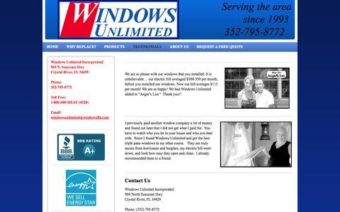 Screenshot of Testimonials Page windowsfla.com - Windows Unlimted Inc. - Testimonials - captured Nov. 5, 2014