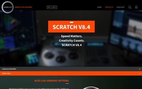 Screenshot of Products Page assimilateinc.com - SCRATCH v8.4 » ASSIMILATE - captured Jan. 24, 2016