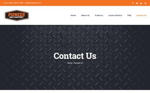 Screenshot of Contact Page pioneerleveler.com - Contact Us - Pioneer Dock Levelers - captured Sept. 28, 2018