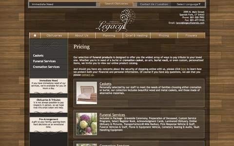 Screenshot of Pricing Page legacyfunerals.com - Pricing - captured Jan. 27, 2016