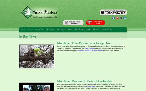 Screenshot of Press Page arbormasters.com - In the News - Tree Service, Lawn Care and Landscape Company - captured Dec. 12, 2018