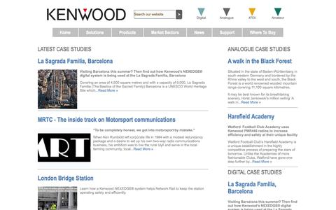 Screenshot of Case Studies Page kenwoodcommunications.co.uk - Kenwood case studies - captured Sept. 22, 2014