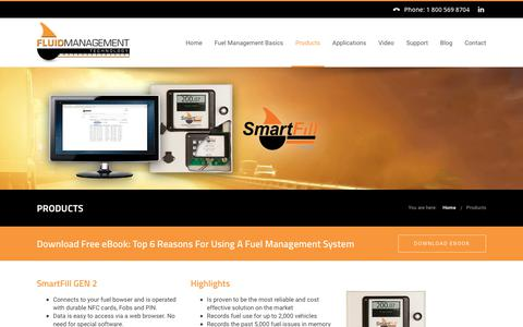 Screenshot of Products Page fluidmt.com - Fuel Management System | SmartFill & SmartDip Products - captured Oct. 14, 2017