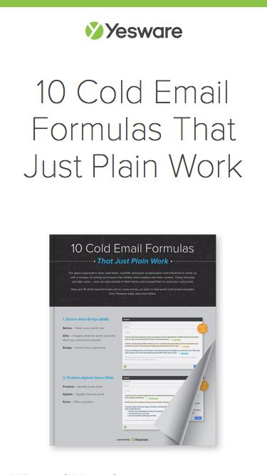 10 Cold Email Formulas That Just Plain Work | Yesware | Yesware