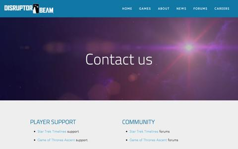 Screenshot of Contact Page disruptorbeam.com - Contact Us — Disruptor Beam - captured April 22, 2016