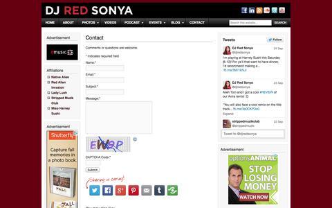 Screenshot of Contact Page djredsonya.com - Contact - captured Sept. 30, 2014