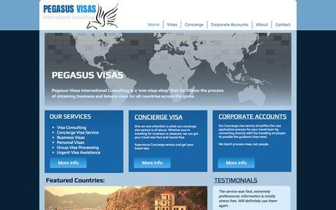 Screenshot of Home Page pegasusvisas.com - Pegasus Visas International Consulting - captured Oct. 2, 2014