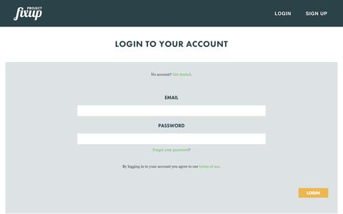 Screenshot of Login Page projectfixup.com - Login - captured Oct. 28, 2014