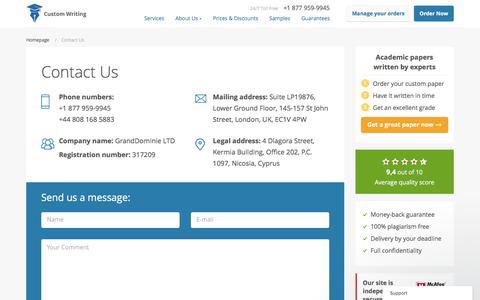 Screenshot of Contact Page custom-writing.org - Contact Us | Custom-Writing.org - captured Nov. 14, 2016