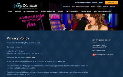 Screenshot of Privacy Page skyutecasino.com - Privacy Policy   Sky Ute Casino Resort - captured Nov. 7, 2018