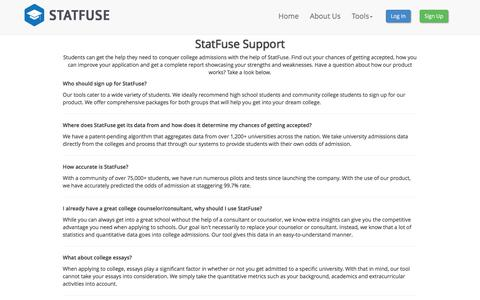 Screenshot of Support Page statfuse.com - College Admissions Made Easy - StatFuse - Contact Us - captured Jan. 17, 2016