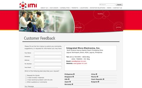Screenshot of Contact Page global-imi.com - Contact Us | IMI - captured Oct. 6, 2014