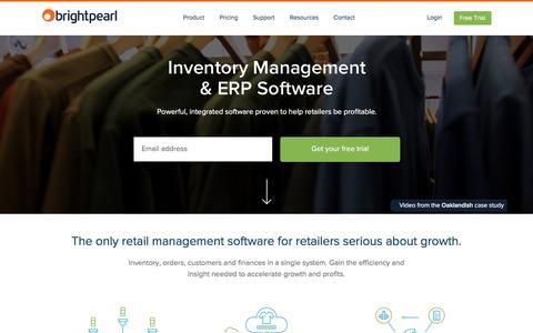 Screenshot of Home Page brightpearl.com - Inventory Management & ERP Software | Brightpearl - captured Jan. 8, 2016