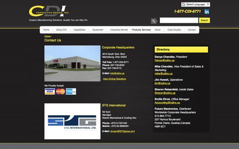 Screenshot of Contact Page connectivedesign.com - Contact Us | Connective Design Inc., CDI Springboro Ohio, CDI Miamisburg Ohio - captured Sept. 25, 2018