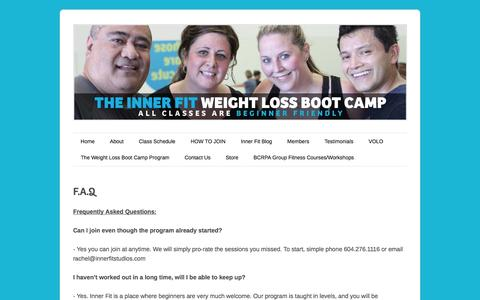 Screenshot of FAQ Page innerfitmembers.com - F.A.Q | Inner Fit Studios - captured Nov. 3, 2014