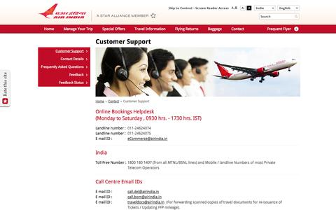 Screenshot of Contact Page Support Page airindia.in - Customer Support - Air India - captured Oct. 23, 2014