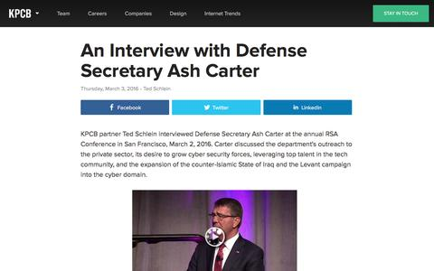 Screenshot of kpcb.com - An Interview with Defense Secretary Ash Carter — Kleiner Perkins Caufield Byers - captured March 20, 2016